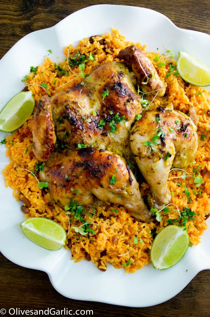 Delicious Cuban Chicken..very tender.  Falls apart packed full of flavor...the rice it is paired with is very good too.  Beautiful presentation.