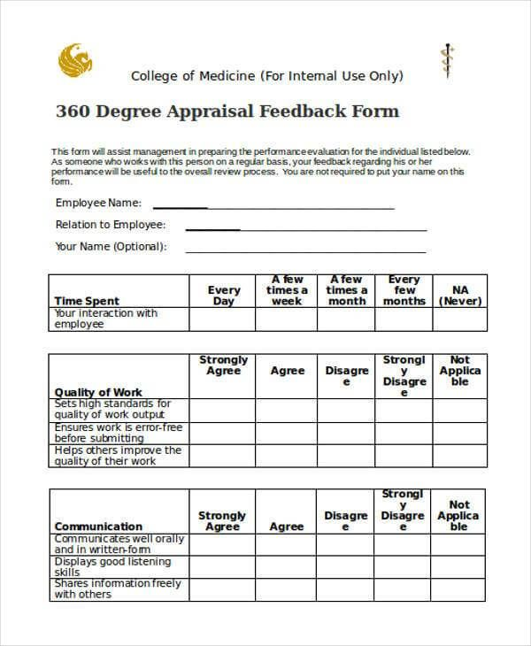 The 360 Degree Evaluation Form Example Guide To Using It