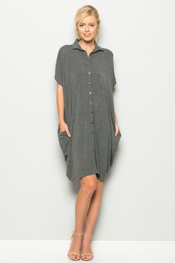 Button Down Shirt Dress/Cardigan