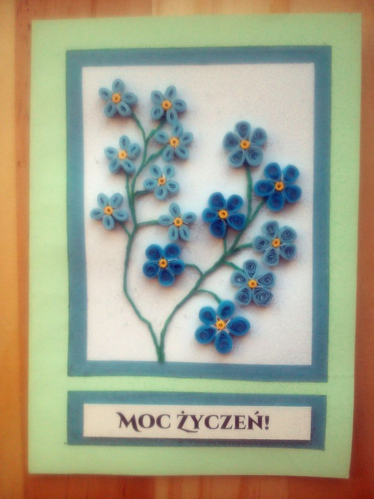 Quilled forget-me-nots on a greeting card