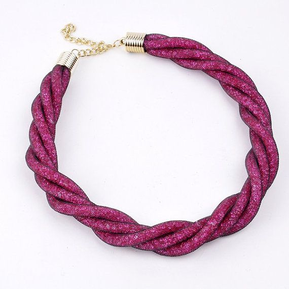 FJ Fashion Golden Chain Rope Black Net Rose by Glamorosajewelry