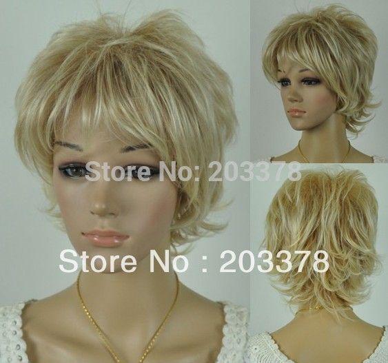 2013 Новый Короткие Вьющиеся Блондинка Парик Синтетические волосы (Бесплатная Доставка) 10 шт./лот заказ смешивания