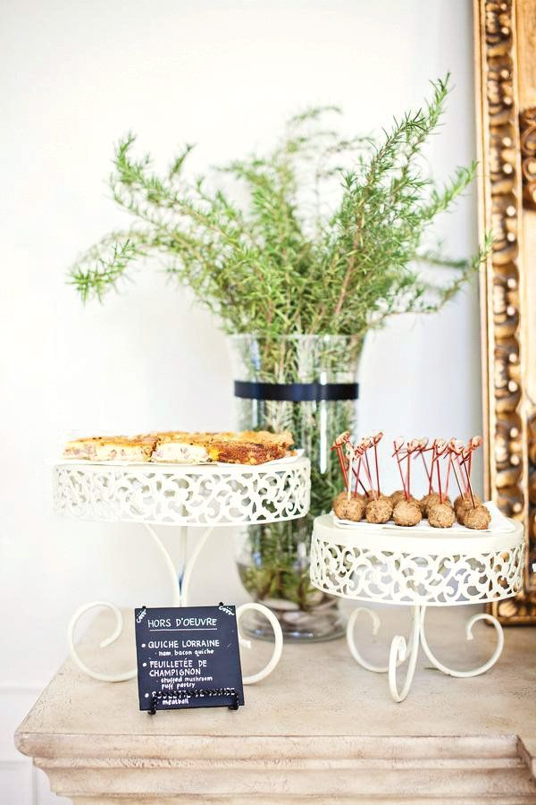 "Chic ""From Paris with Love"" bridal Party with french inspired cuisine, elegant blue and white floral arrangements, and chalkboard food labels."