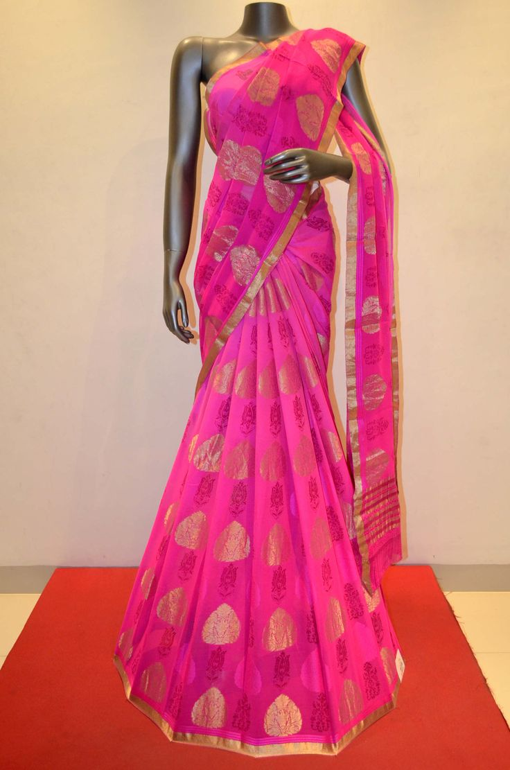 Gorgeous Pink Stylish Printed Pure Silk Georgette Product Code: SSJG02801 Online Shopping: http://www.janardhanasilk.com/Saree-Collections/Printed-Georgette-Silk-Saree/Gorgeous-Pink-Stylish-Printed-Pure-Silk-Georgette?limit=25