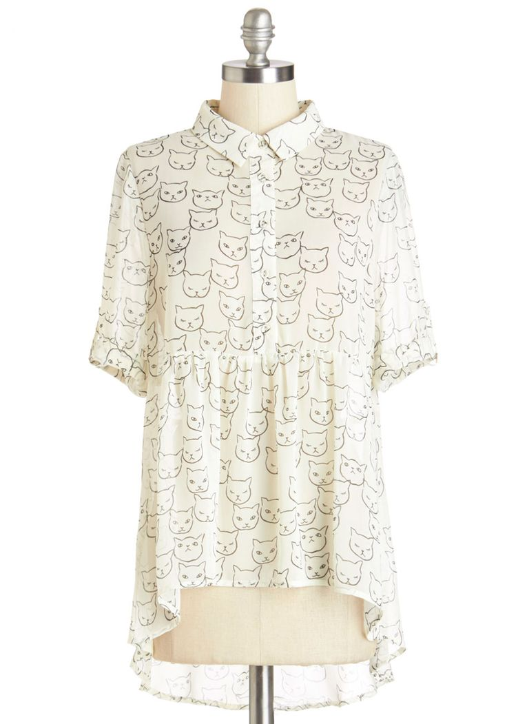 Where Purr Art Thou Top. Unite with a loved look each time you slip into this dreamy white blouse. #white #modcloth