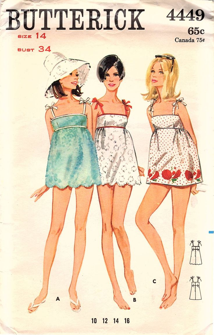Boho tunic top blouses and dress 4009 trendy boho vintage gypsy - Vintage Original Groovy 1960s Butterick 4449 Beachdress Cover Up Scalloped Hemline Boho Sewing Pattern Bust 34