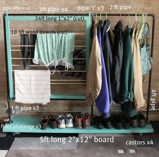 clothes rack DIY: Dry Racks, Closet Spaces, Clothes Racks, Coats Racks, Clothing Racks, Garment Racks, Diy Clothing, Diy Clothes, Small Spaces