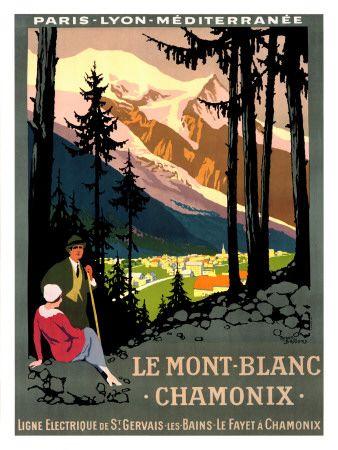 Mont Blanc, Chamonix - Vintage Poster