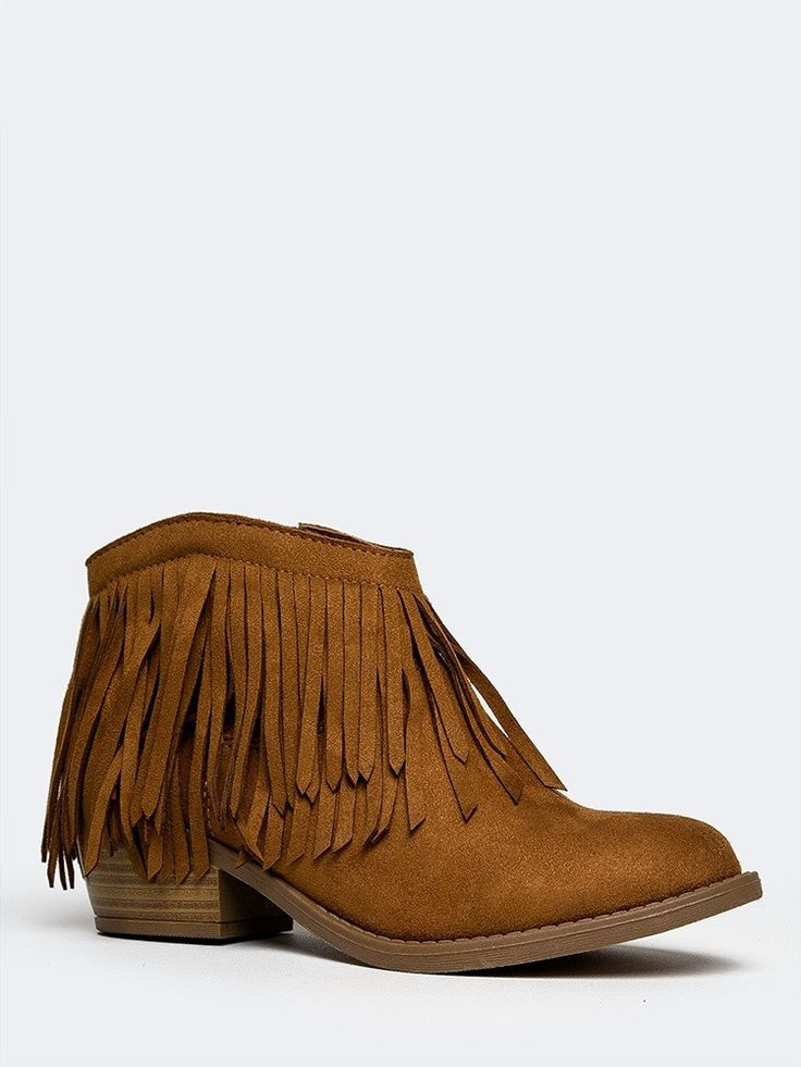 - Fringe booties work all year round! - These western ankle boots have 2 layers of fringe with a wooden, block heel and a vegan suede upper. - Non-skid sole and cushioned footbed. - Color- British Tan