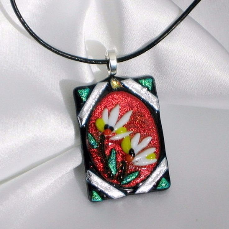 RUBY ROYAL BIRDS OF PARADISE flower fused glass jewelry pendant