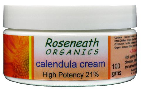 Roseneath Organics Calendula Cream - 100gm  Roseneath Organics Calendula Cream contains 21% Organic Whole Flower Extract.  Calendula cream is light and is readily absorbed by the skin. A nutritious base of cocoa butter, shea butter, lecithin and palm oil provides a broad spectrum of fatty acids essential to healthy, glowing, soft fresh skin. Being an oil based cream this product moisturizes deeply and does not readily 'wash out' with soaps as do most commercial water based creams.