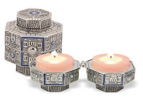 Travel Candlesticks - Jerusalem Jewish Shabbat Kodesh Judaica - Candle Holders
