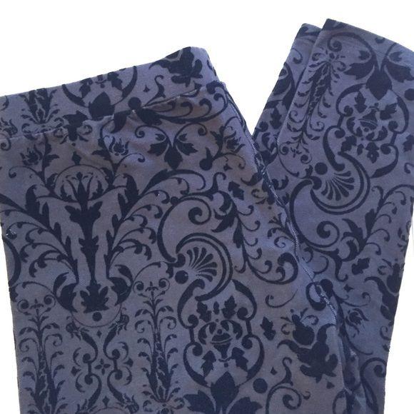 H&M Leggings Dark gray (almost look like a jean) stretchy leggings with black velvet brocade pattern. Worn once! H&M Pants Leggings