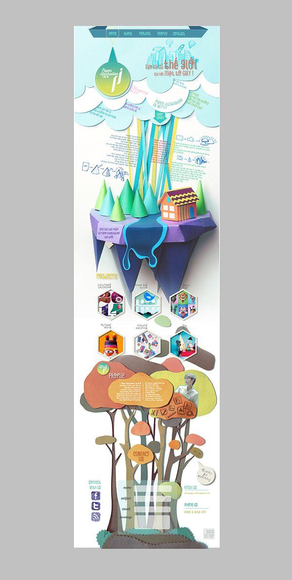 Paper illustration Web design on Behance