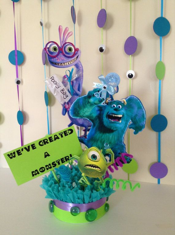 Check out this item in my Etsy shop https://www.etsy.com/listing/198781240/monsters-inc-baby-shower-centerpiece