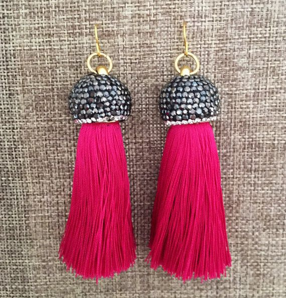 Our Popular Quinn Tassel Earrings! ONE OF A KIND These measure 2.5 inches from top of Pave Rhine ...