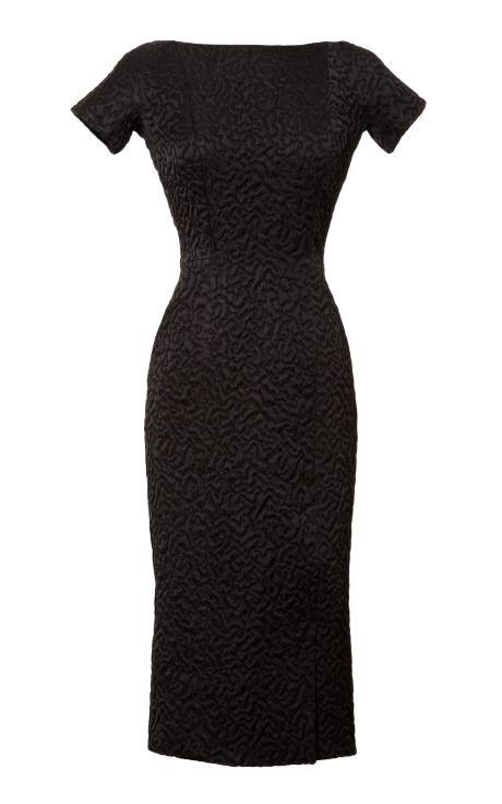 Shop Jacquard Dress with Velvet Back by Rochas Now Available on Moda Operandi