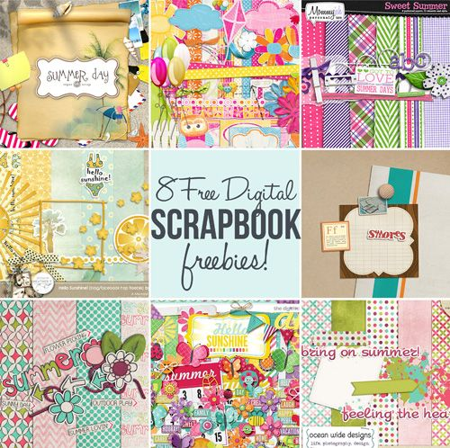 ------8 digital scrapbook freebies.. gotta love freebies, especially ones this nice! http://www.babble.com/crafts-activities/8-free-summer-scrapbook-digital-freebies/