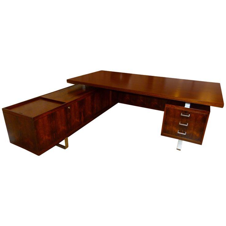 1stdibs   Vintage Pedersen Executive Desk, by E. Pedersen & Son, Denmark c.1965  traquair.1stdibs.com