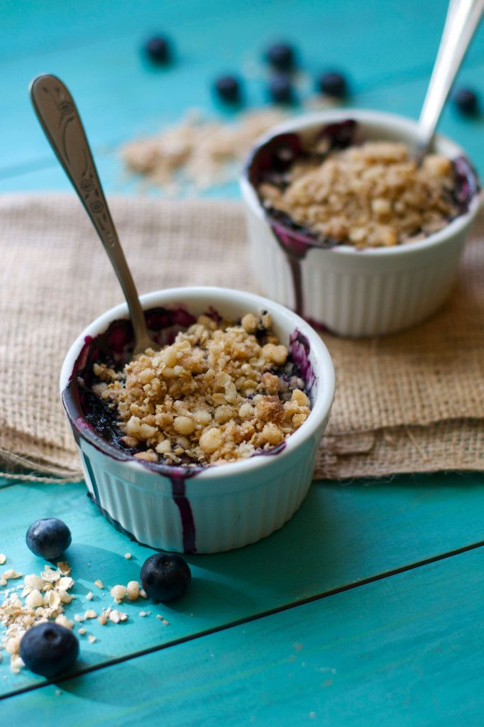"""Blueberry Crisp for Two - """"What I love about this recipe is that you can use whatever fruit or berries you have on hand and end up with a delicious dessert for you and a friend in under an hour."""""""