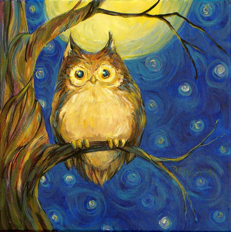 Owl In Starry Night Painting  - Owl In Starry Night Fine Art Print