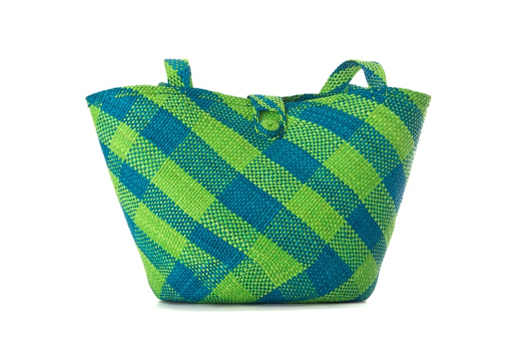Super Size Beach Bag.  handcrafted bag iraca palm bag.  Royal blue and lime green!  Spring- Summer 2013    www.CordoBags.com