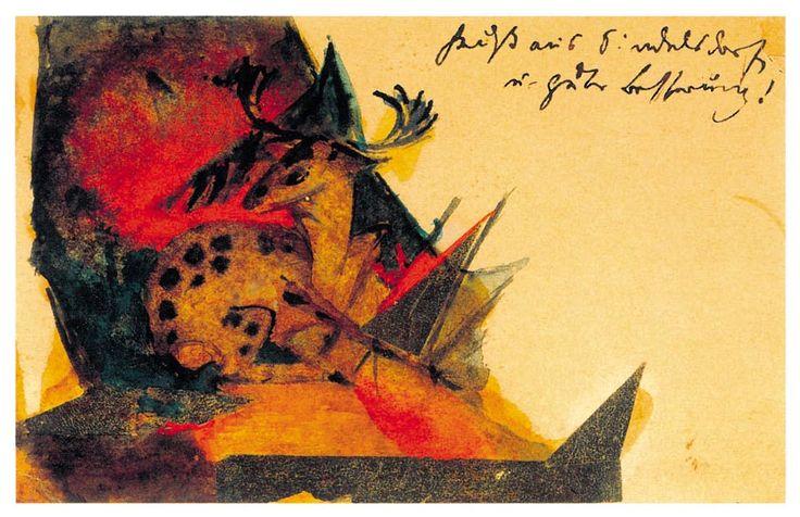 Franz Marc: Liegender Hirsch, 1913. Postkarte aus Sindelsdorf an Bernhard Koehler in Wiesbaden. Aquarell, Tusche und Collage (Goldfolie) auf Postkarte 9 x 14 cm; Franz Marc Museum, Kochel a. See. Dauerleihgabe ahlers collection