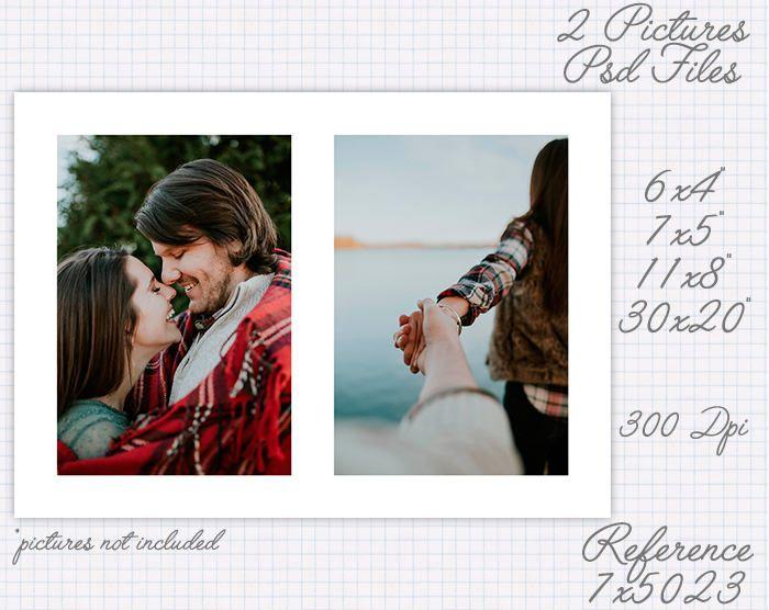 Plantilla foto collage storyboard de 6x4 4x6 7x5 5x7 11x8 11x8 30x20 30x20 pulgadas retrato y apaisado (2 fotos) ref 7x5023 de JuanmiDesigns en Etsy