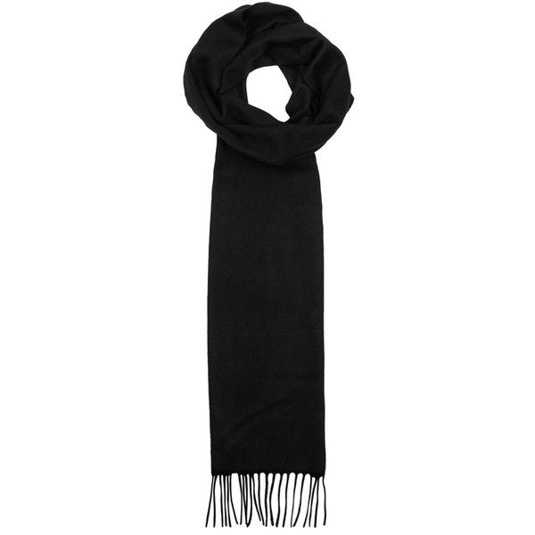 Johnstons Of Elgin Black Cashmere Scarf (430 BRL) ❤ liked on Polyvore featuring men's fashion, men's accessories, men's scarves and mens cashmere scarves