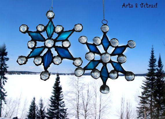 Flocon de neige vitrail verre bleu cabochon par ArtsVitrail sur Etsy