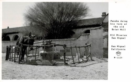 RPPC-San-Miguel-CA-Old-Mission-San-MIguel-Grist-Mill-SLO-County-Frasher-c-1950