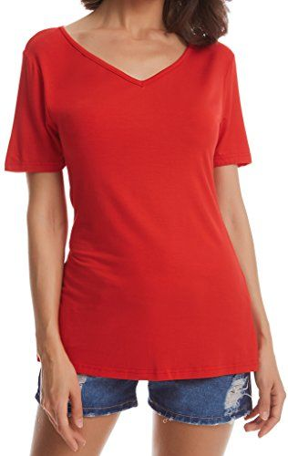 Basic Casual V-Neck T-Shirt for Women(XL,Red)  Special Offer: $6.35  444 Reviews Brand:JOELLYUS Material:95% Rayon/5% Spandex Various Colors and 8 Sizes for Your Choice Washing Info:Hand Wash or Machine Wash-Gentle Cycle/Air Dry Disclaimer:Approximate Measurements and Colors Shown...