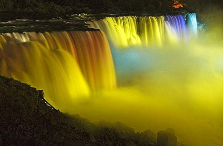 Niagara Falls' Stunning Festival of Rainbow Lights...just took my grandson there..BEAUTIFUL