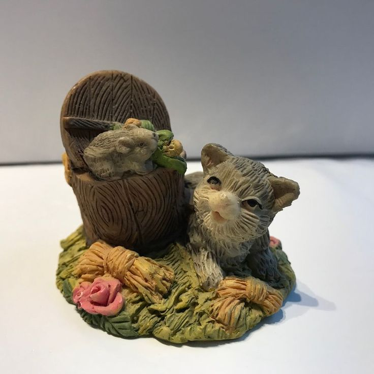 Cat with mouse planter miniture collectible 2 inch Sabre Montreal #Sabre