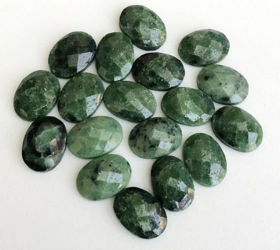 5 Pcs Ruby Zoisite Cabochons Oval Faceted Flat by gemsforjewels