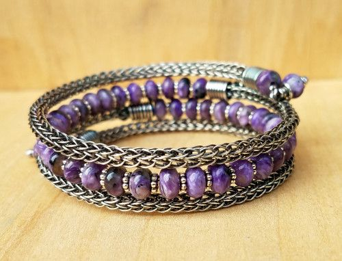 Sterling Silver Viking Knit Wrap Bracelet with Charoite | MoonOverEwe - on ArtFire