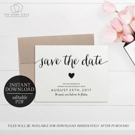 Save The Date Calligraphy Invitation Printable  Editable