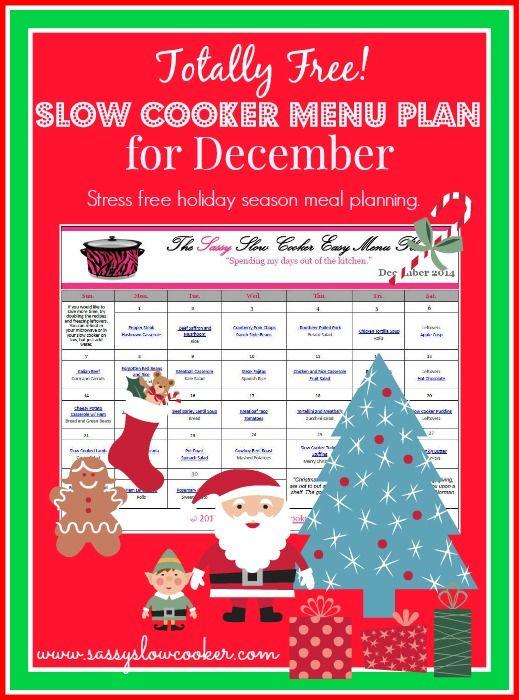 Stress free holiday season meal planning. December Slow Cooker Menu Plan