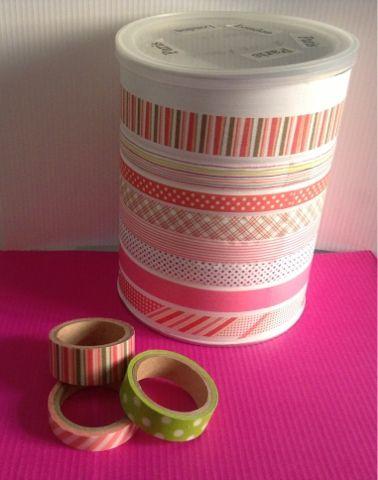 Bote decorado con washi Tape.