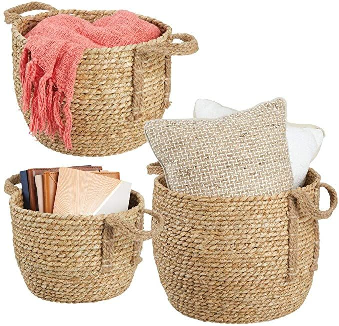 Amazon Com Mdesign Round Woven Braided Rope Seagrass Home Storage Baskets Jute Handles For O In 2020 Storage Baskets Woven Baskets Storage Seagrass Storage Baskets #storage #baskets #living #room