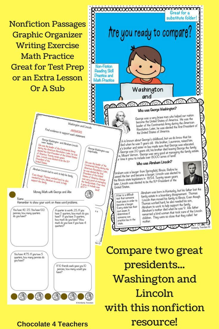 Compare Two Great Presidents With This Nonfiction Resource Just Print And Teach Format Also Makes It Math Practices Fiction Reading Passages Reading Passages Nonfiction reading comprehension social
