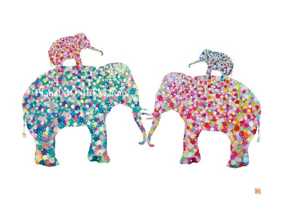 Elephant Mommy & Daddy print- baby room girl