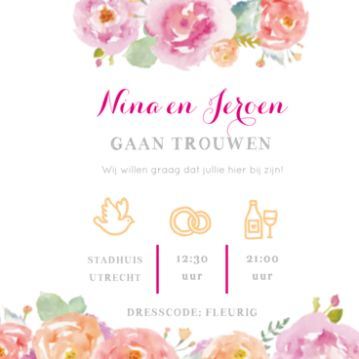 Waterverf trouwkaart met roze en oranje bloemen. Watercolor wedding invitation with pink and orange flowers.