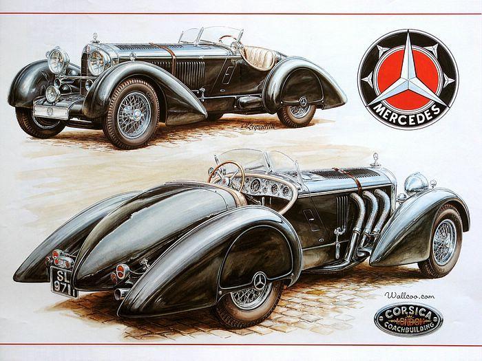Vintage Cars and Racing Scene, Automotive Art of Vaclav Zapadlik  - Mercedes-Benz Vintage Cars,  1930 Mercedes-Benz Count Trossi SSK  Wallpaper  19