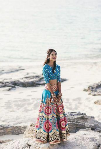 Sangeet Lehengas - Blue Choli with a Multi Colored Manish Arora Lehenga | WedMeGood  #wedmegood #indianbride #indianwedding #manisharora #lehenga #bridal #sangeet