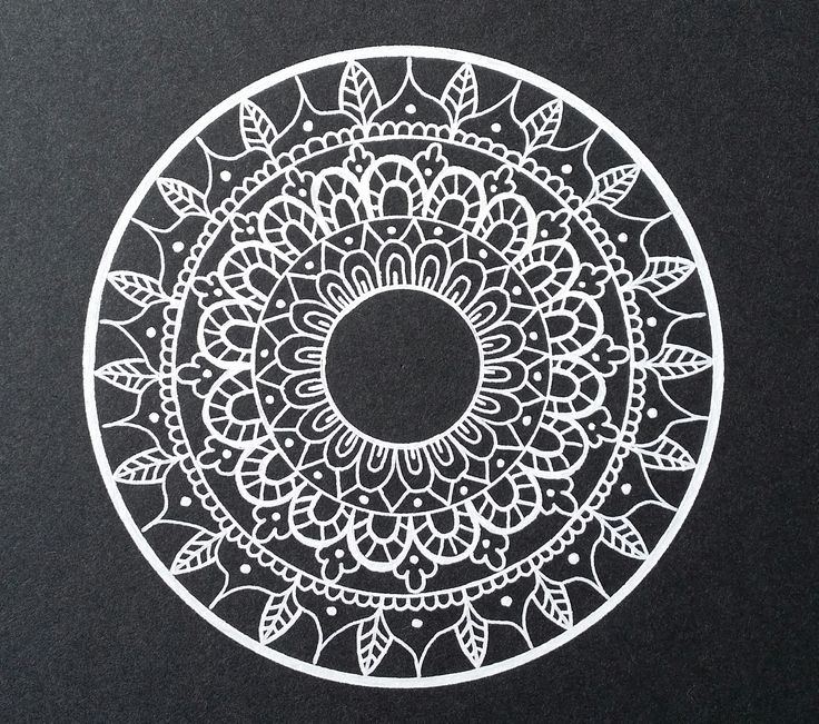 Black and White mandala - Drawn freehand - Gellyroll White pen from
