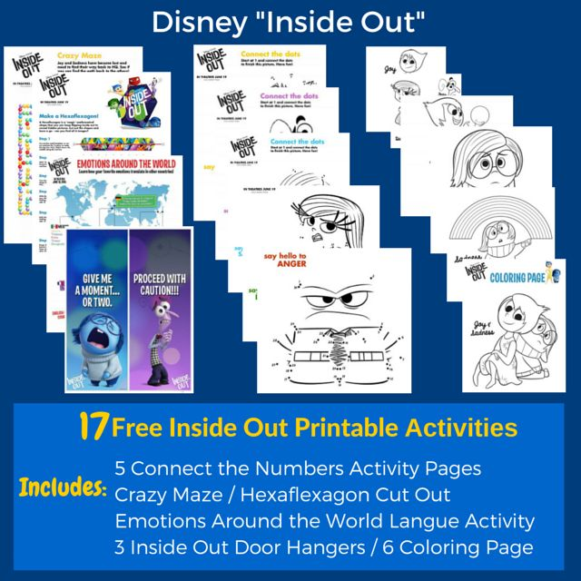 Here are 17 free Inside Out printable activities to be used for parties or just fun. Click on the image to download the free Inside Out printables.