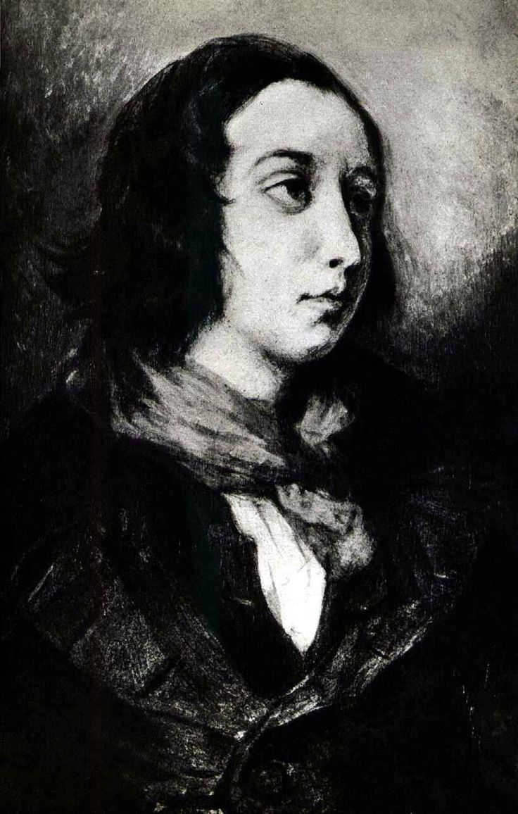 """Portrait of George Sand, 1834, Eugène Delacroix """"George Sand, pseudonym of Armandine-Aurore-Lucille Dudevant, née Dupin  (born July 1, 1804, Paris, France—died June 8, 1876, Nohant), French Romantic writer, known primarily for her so-called rustic novels."""""""