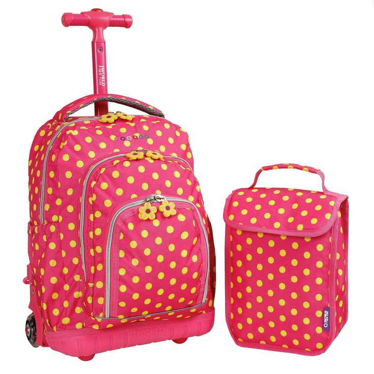 J World 16 Lollipop Rolling Backpack with Lunch Kit - Pink/Yellow