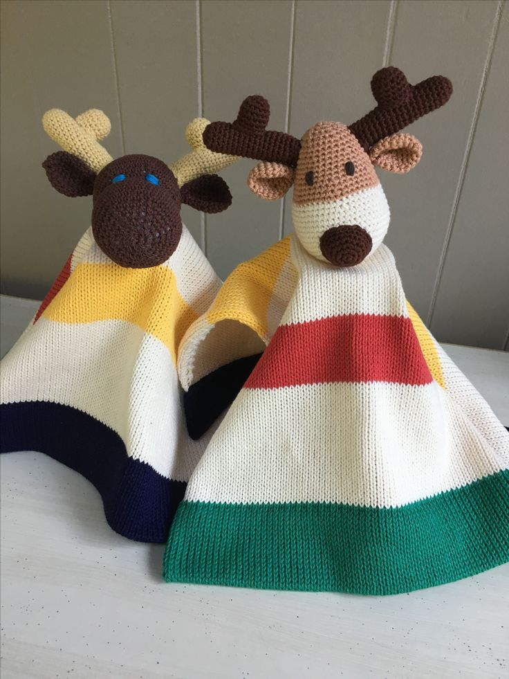 Canadian Moose and Reindeer..100% cotton knit and crochet lovey blanket...custom orders welcome